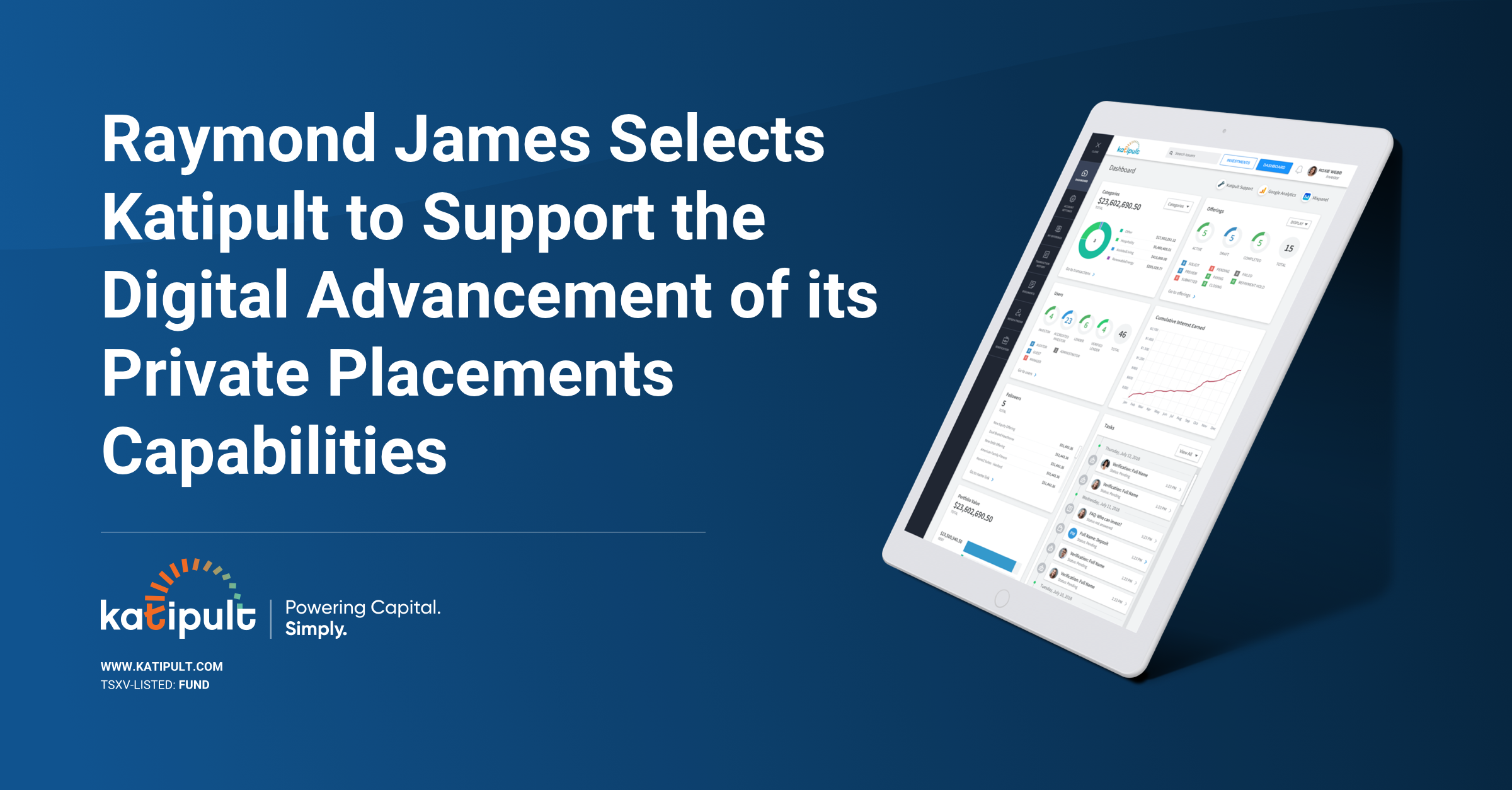 Raymond James Selects Katipult to Support the Digital Advancement of its Private Placements Capabilities